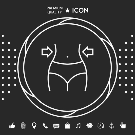 Women waist, weight loss, diet, waistline line icon . Signs and symbols - graphic elements for your designt