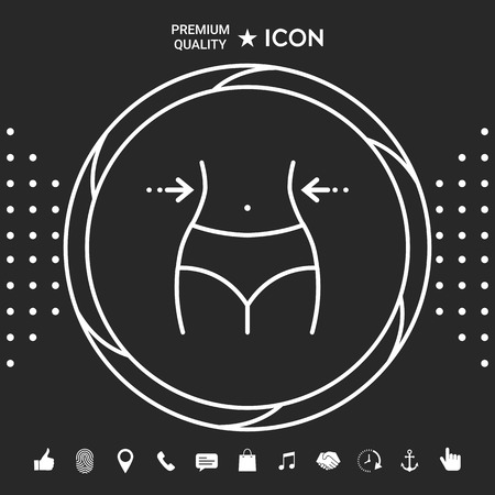 Women waist, weight loss, diet, waistline - line icon . Signs and symbols - graphic elements for your designt
