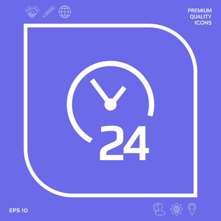 Open around the clock icon. Opening hours symbol icon. Graphic elements for your design