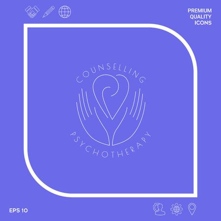 Logotipo: las manos sostienen el corazón con espirales, un símbolo de interacción, cooperación, apoyo y comprensión