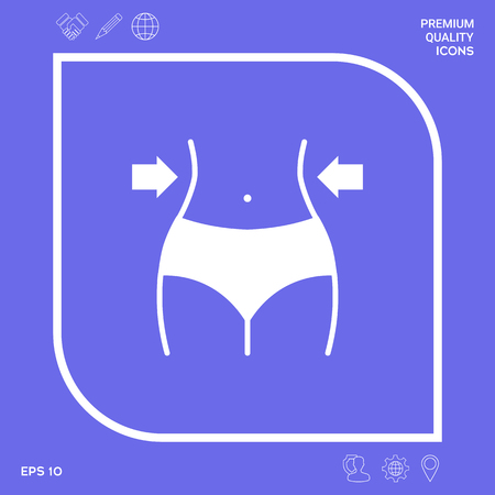 Women waist, weight loss, diet, waistline icon . Signs and symbols - graphic elements for your designt