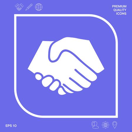 Symbol of handshake in circle. Sign Vectores
