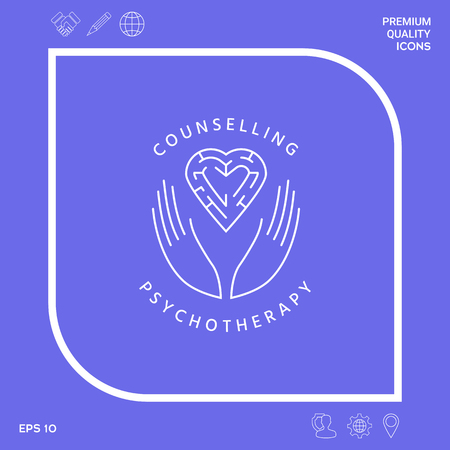 Logotype in a circle - linear symbols - hands hold  the heart with a labyrinth - a symbol of support, mutual help, protect and care.