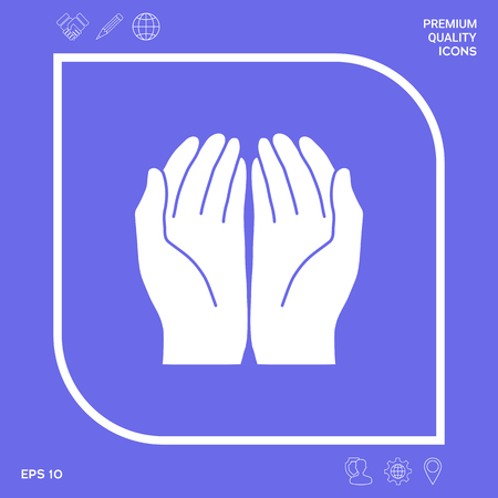 Open hands icon . Signs and symbols - graphic elements for your designt
