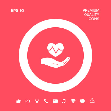 Hand holding heart. Medical icon. Graphic elements for your design Illustration
