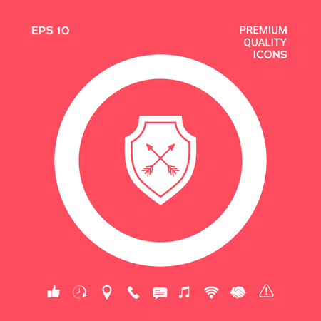 Shield with arrows. Protection icon. Graphic elements for your design