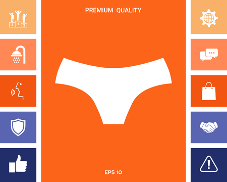 Women panties, the silhouette. Menu item in the web design . Signs and symbols for your designt Illustration