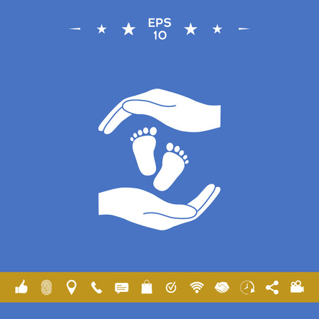 Hands holding baby foot, protection symbol Illustration