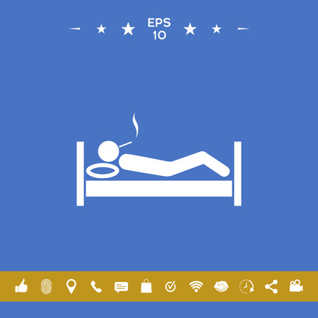 Smoking in bed icon . Signs and symbols for your designt