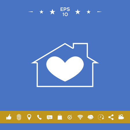 House with heart symbol . Signs and symbols for your designt
