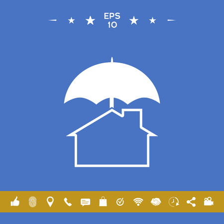 Security and protection icon. Home under umbrella . Signs and symbols for your designt
