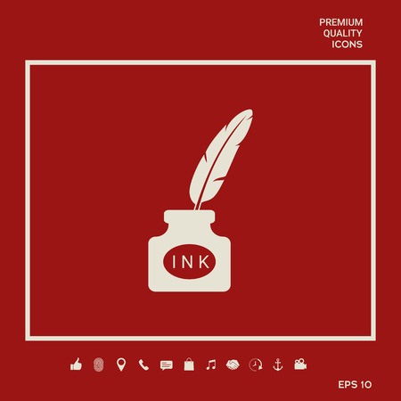 Ink bottle with feather - icon. Graphic elements for your design