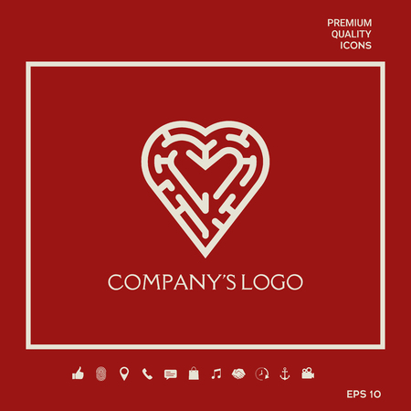 Logo - a labyrinth in the heart - a symbol of the search for integrity, wisdom and happiness. 写真素材