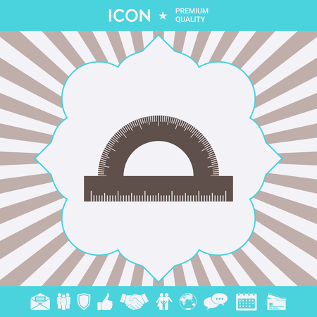 Protractor symbol icon. Graphic elements for your design  イラスト・ベクター素材