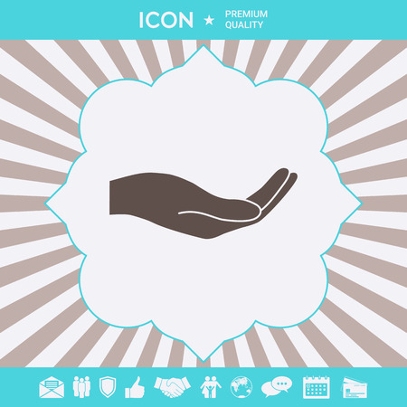 Open hand icon . Signs and symbols for your designt Illustration
