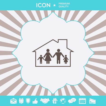 Family home icon . Signs and symbols for your designt