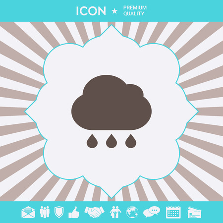 Cloud rain icon with drops. Element for your design