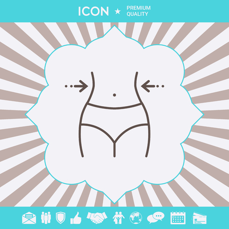 Women waist, weight loss, diet, waistline - line icon . Signs and symbols for your designt