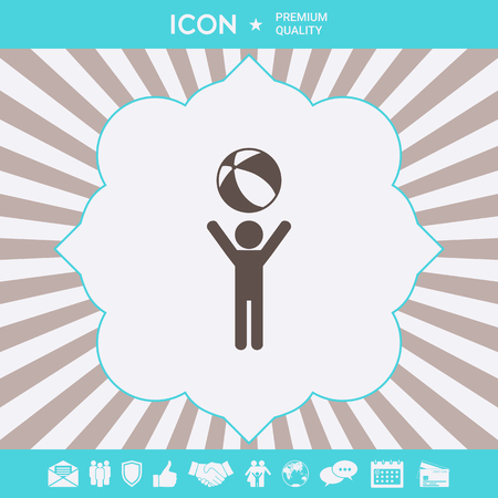 Child holds children toy, bouncy ball - icon. Element for your design
