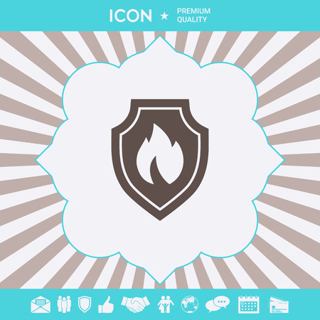 Shield with fire sign - protection icon Ilustração