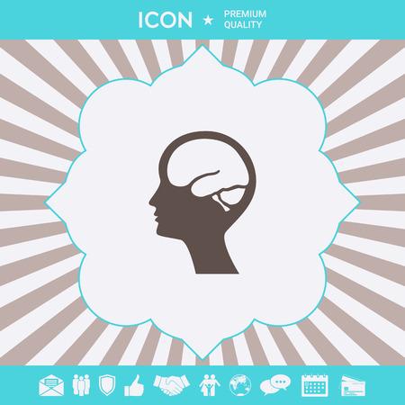 Head with brain symbol icon