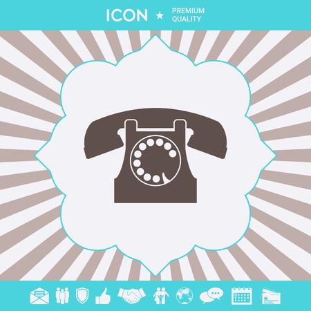 Retro telephone symbol . Signs and symbols for your designt Ilustração