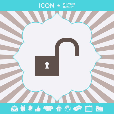 Unlock symbol icon . Signs and symbols for your designt