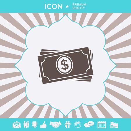 Money banknotes stack icon . Signs and symbols for your designt Ilustração