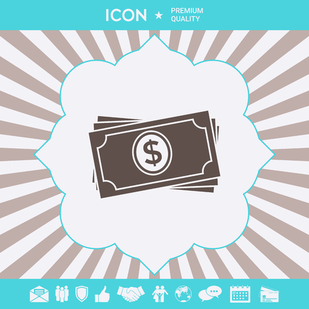 Money banknotes stack icon . Signs and symbols for your designt Illustration
