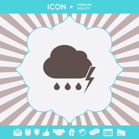 Cloud thunderstorm lightning rain icon. Element for your design
