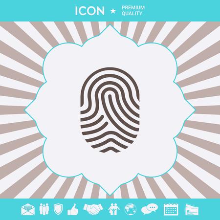 Fingerprint. Scanned finger icon . Signs and symbols for your designt
