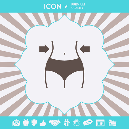 Women waist, weight loss, diet, waistline icon . Signs and symbols for your designt