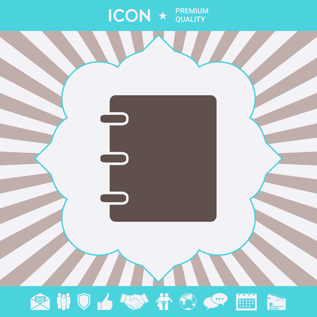 Notebook, address, phone book symbol with blank cover Ilustração