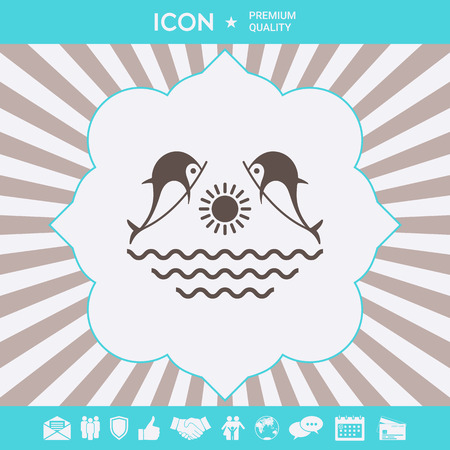 Dolphins with sun sea - Logo. Element for your design