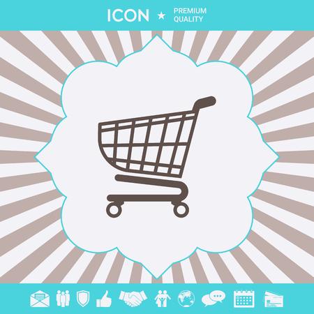Shopping cart icon, shopping basket design, trolley icon