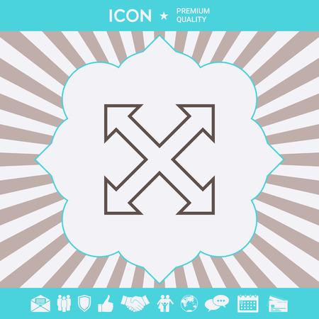 Extend, resize enlarge line icon Ilustração