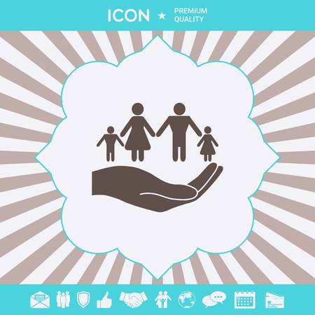 Hand holding a symbol of family. Family protect icon