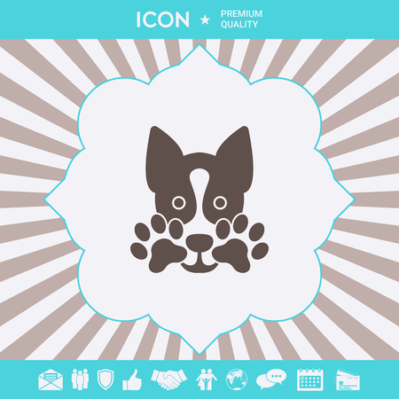 Cute Dog, paw - logo, symbol, protect sign. Element for your design