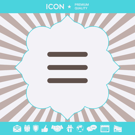 Menu Icon symbol. Graphic elements for your design Banque d'images - 112875995