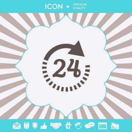 Open around the clock symbol icon. Opening hours icon Ilustração