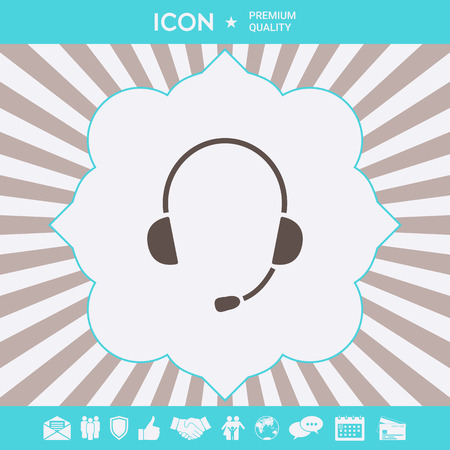 Headphones with microphone icon . Signs and symbols for your designt Stock Illustratie