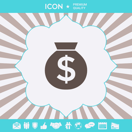 Bag of money icon with dollar symbol. Graphic elements for your design Stock Photo