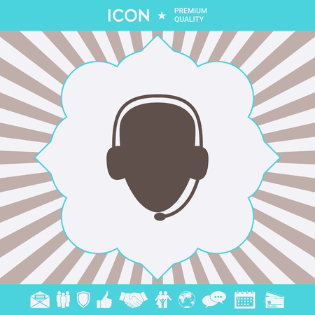 Operator in headset. Call center icon. Graphic elements for your design