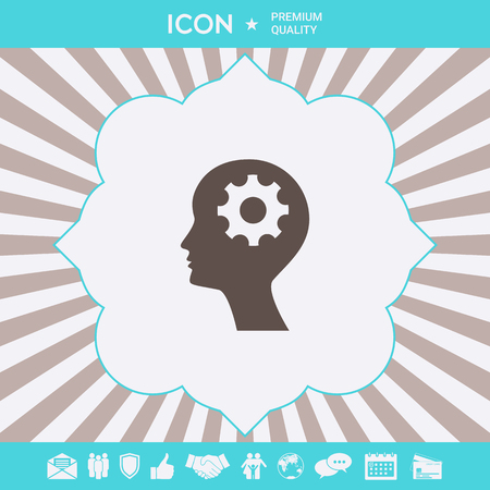 Man silhouette with gear icon