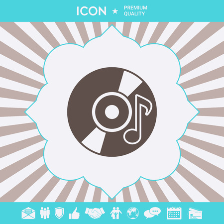 CD, DVD with music symbol icon. Element for your design Illustration