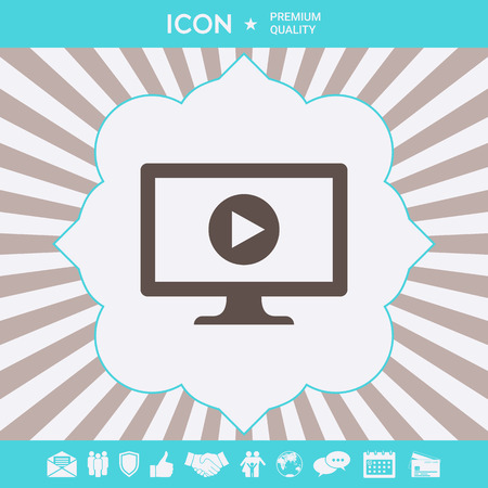 Computer with play button icon. Element for your design