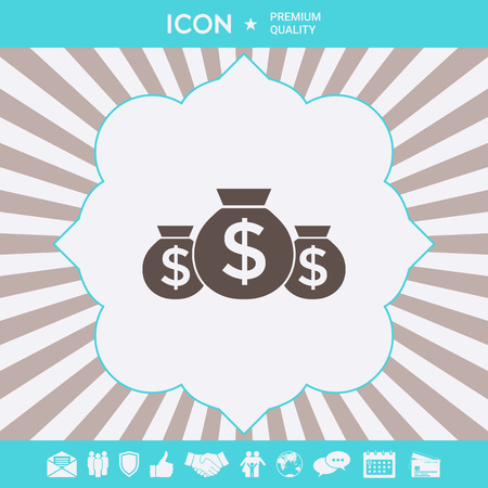 Bags of money icon with dollar symbol. Element for your design