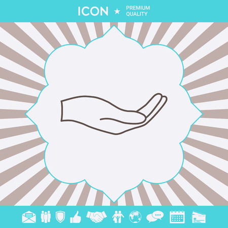 Open hand - line icon . Signs and symbols for your designt