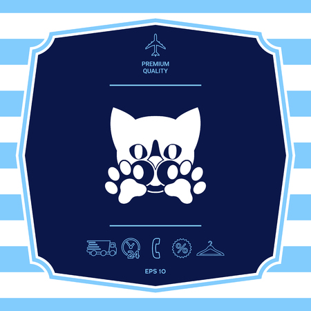 Cute Cat, paws - logo, symbol, protect sign