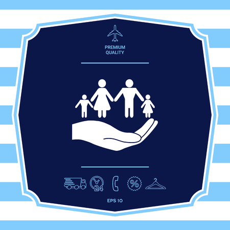 Hand holding a symbol of family. Family protect icon. Graphic elements for your design Illustration